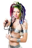 Sexy futuristic woman hold electric plug Stock Photography