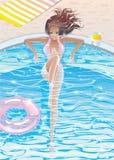 Sexy gebräuntes Brunettezaubermädchen in einem Swimmingpool Stockfotos