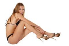 Sexy gelooid meisje Stock Foto's