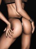 Sexy getatoeërde vrouwelijke bedelaar met pvcleren riem Royalty-vrije Stock Afbeelding