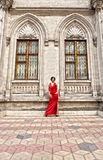 Sexy gilr in red dress HDR tonning image Stock Photography