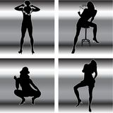 Sexy girl. Black silhouettes of sexy girl Royalty Free Stock Photography