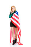Sexy girl with american flag Royalty Free Stock Images