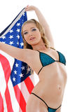 Sexy girl with american flag Royalty Free Stock Photos