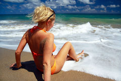 Sexy girl  in Atlantic ocean Stock Image