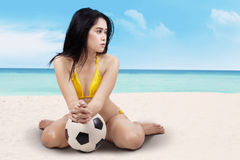 Sexy girl with ball Royalty Free Stock Image