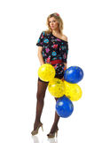 Sexy girl with balloons Royalty Free Stock Images