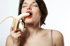 girl with a banana. Underwear. Makeup. Emotions. Passion.