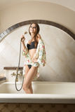 Sexy girl in bath tub Royalty Free Stock Photography