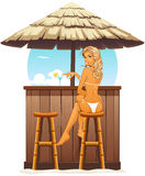 Sexy girl in beach bar Royalty Free Stock Image