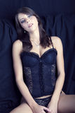 Sexy girl with big breasts in black lingerie Stock Images