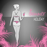 Sexy girl in a bikini on a beach at night,. Vector illustration Stock Photography