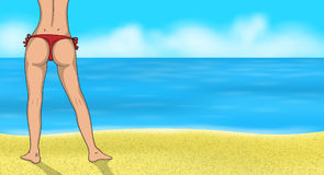 Sexy girl in bikini on the beach. Woman buttocks vector illustration. Female Ass and legs on the sea background. Stock Photo