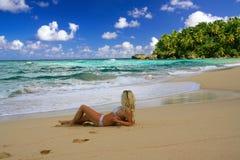Sexy girl in bikini  on caribbean beach Stock Image