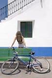 girl with bikini and cycle Stock Photo