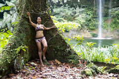 Sexy girl with bikini in forest Stock Photography