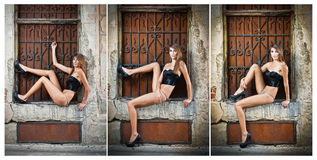 Sexy girl in bikini posing fashion near red brick wall on the street Stock Images
