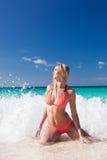 Sexy girl in bikini in sea Royalty Free Stock Image