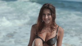 Sexy girl in black bikini with rhinestones having stock video footage