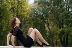girl in black dress Stock Image