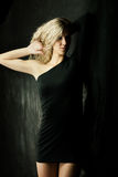 Sexy girl in black dress Royalty Free Stock Image