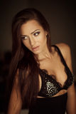 Sexy girl in a black lingerie Royalty Free Stock Photos
