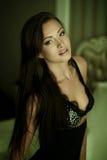 Sexy girl in a black lingerie Stock Photos