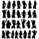 Sexy girl black silhouette set vector Royalty Free Stock Photos