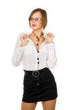 Sexy girl in a black skirt and white shirt Royalty Free Stock Photos
