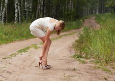 Sexy girl blonde against the nature Royalty Free Stock Photo