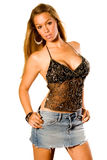 Girl Blonde in black top Royalty Free Stock Photo