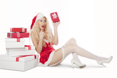 girl with blonde curly hair dressed as Santa Royalty Free Stock Photo