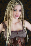 Sexy girl blonde dreadlocks steampunk model Royalty Free Stock Image