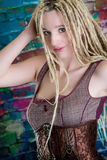 Sexy girl blonde dreadlocks steampunk model Royalty Free Stock Photo
