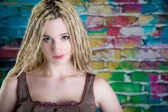 girl blonde dreadlocks steampunk model royalty free stock photography
