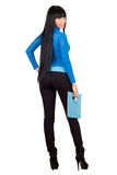 girl with a blue handbag Stock Images