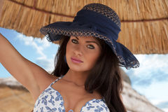 Sexy girl with blue hat Royalty Free Stock Photo