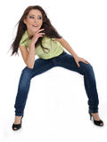Sexy girl in blue jeans Stock Photography