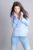 Sexy girl in blue jeans Royalty Free Stock Photo