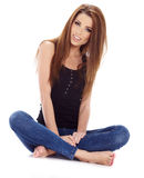 girl in blue jeans Stock Photos