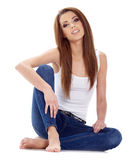 Sexy girl in blue jeans Stock Images