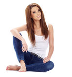 Sexy girl in blue jeans Stock Image