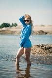 Sexy girl in blue shirt Stock Photos
