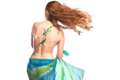 Sexy girl with bodyart on her back Royalty Free Stock Photos
