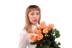 girl  with bouquet of roses Royalty Free Stock Photo