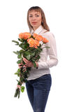 girl  with bouquet of roses Royalty Free Stock Photos