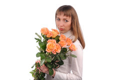 girl  with bouquet of roses Royalty Free Stock Images