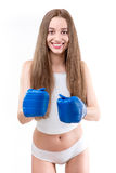 Sexy girl boxing in gloves Royalty Free Stock Photography