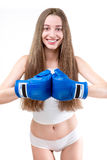 girl boxing in gloves Royalty Free Stock Photography