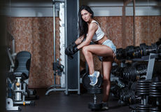 girl with boxing gloves posing in the gym. Royalty Free Stock Image